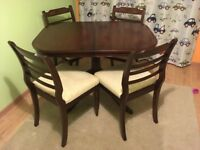 Strongbow Mahogany Small Dining Table with four chairs
