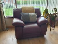 3 Seater sofa + 2 Armchairs - Italian Ox Blood Red Leather Suite