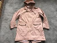 Zara basic ladies hooded trench coat full Zipper pink Size L/14 Ex ex condition used only one £15