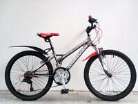 "(2631) 24"" 12"" CLAUD BUTLER DIREWOLF BOYS GIRLS MOUNTAIN BIKE BICYCLE; Age: 8-10; Height: 127-142 cm"