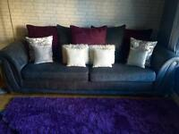 4 seater sofa and large cuddle chair with integrated docking station
