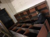 Solid wooden shelves storage pigeon holes hardwood