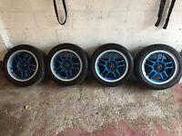 "4 x100 rota subzero alloys 15"" in blue with tyres honda civic ek4 vti eg ej9"