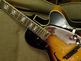 Shine jazz guitar in mint condition. padded gig bag. professionally set up with new bridge & strings