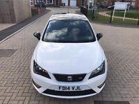 2014 SEAT IBIZA FR TSI WHITE FULL SEAT SERVICE, 1 OWNER SAT-NAV £30 YEAR TAX STUNNING LOOK BLACK TOP