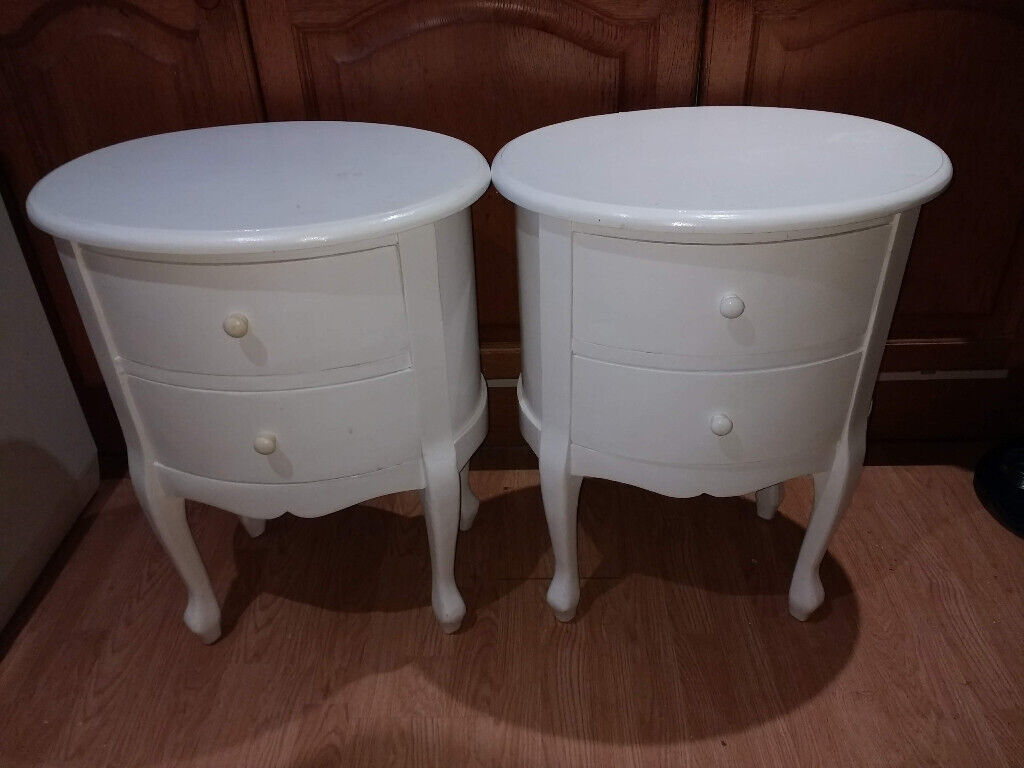 2 X White Bedside Drawers Tables Cabinets Oval In Inverness Highland Gumtree