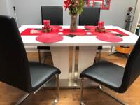HIGH GLOSS WHITE DINING TABLE 4 REAL LEATHER BLACK CHAIRS Free Delivery