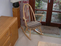Ercol Rocking Chair in Light Finish and Original Seat Pad