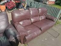 Real leather sofa light brown