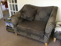 2 Ex John Lewis snuggle chairs and matching footstool for sale.