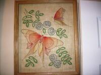 COPPER WIRE NAIL HEAD STRING ART BUTTERFLIES  PICTURE