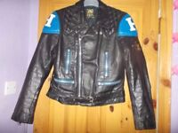 gents vintage black/blue motor bike jacket 42 inch chest.Fab condition inside and out.