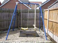 Children's Outdoor Garden Swing Set With Height Adjustable Swing & Glider Swing