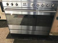 Smeg stainless steel dual fuel Cooker 90 cm width