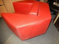 HAND MADE IN ITALY CALIA SALOTTI CONTEMPORARY HEXAGON RED LEATHER ARMCHAIR VERY NICE RETRO PIECE