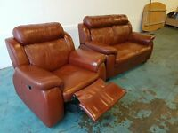 ITALIAN BROWN LEATHER SUITE 2 SEATER SOFA & RECLINING CHAIR / ARMCHAIR RECLINER DELIVERY AVAILABLE