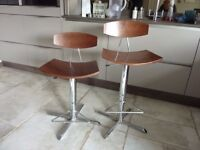 Bar stools Two off adjustable height gas sprung