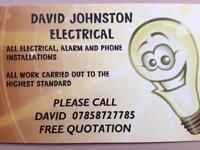 DAVID JOhNSTON ELECTRICAL. Fully qualified, free call, free quotation