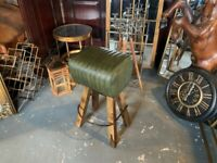 New Boxed Large Vintage Industrial Style Ribbed Leather Pommel Horse Bar Stool in Green