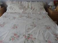 Double Bed Duvet Cover Pink Roses & Forget me Knots