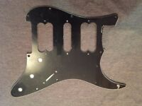 BRAND NEW 3 Ply Amazing Black Pickguard/Scratchplate with Protective Film and Silver Conductive