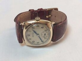 Vintage mens military Bernex 9k 9ct solid gold cushion watch