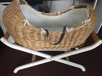 Mothercare Snug Moses basket, stand and mattress
