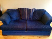 2 x Three seater blue fabric scatterback sofas. Excellent condition!