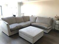Bespoke grey L shape sofa with footstool- RRP £5000