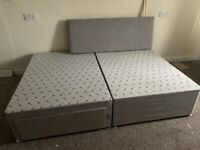DOUBLE DIVAN BED WITH DRAWERS & HEADBOARD/ MATTRESS
