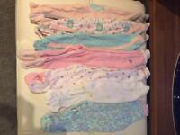 0-3 mth girls babygrow bundle
