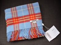 Blue and red tartan Johnstones lambswool scarf