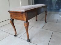 Antique upholstered duet piano stool with lid