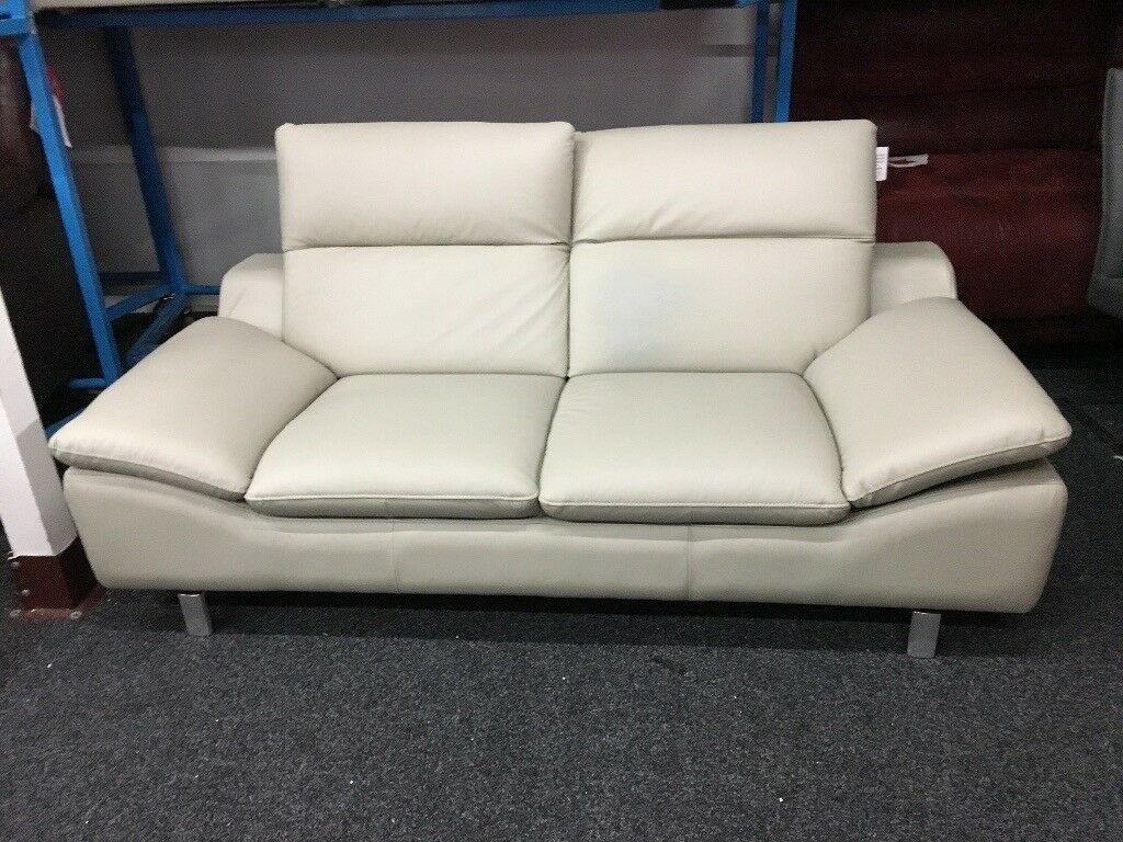 New/Ex Display Reid Prestwood 2 Seater Grey Leather Sofa