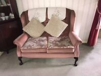 High backed 2 seater settee ,3 chairs and footstool.