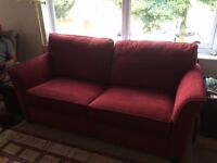 Excellant condition, comfortable, nearly new sofa bed with wooden and steel base