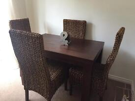 Dark Mango Wood Dining Table with 4 chairs