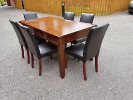 Willis & Gambier Solid Hardwood Extending Table & 6 Leather Chairs FREE DELIVERY 346