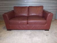 Chestnut Brown Leather 2-seater Sofa (Suite), Armchair and Footstool