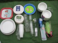 Brand New Paper Plates and Bowls, Disposable Cups, Glasses, Stirrers and Straws - All for £5.00