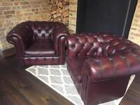 Chesterfield brown leather armchairs x 2