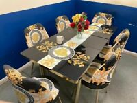 👌😍💕 STYLISH VERSACE EXTENDABLE DINING TABLE WITH SUPER QAULITY 6 CHAIRS FOR SALE