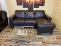 Compact Brown Leather Corner Sofa