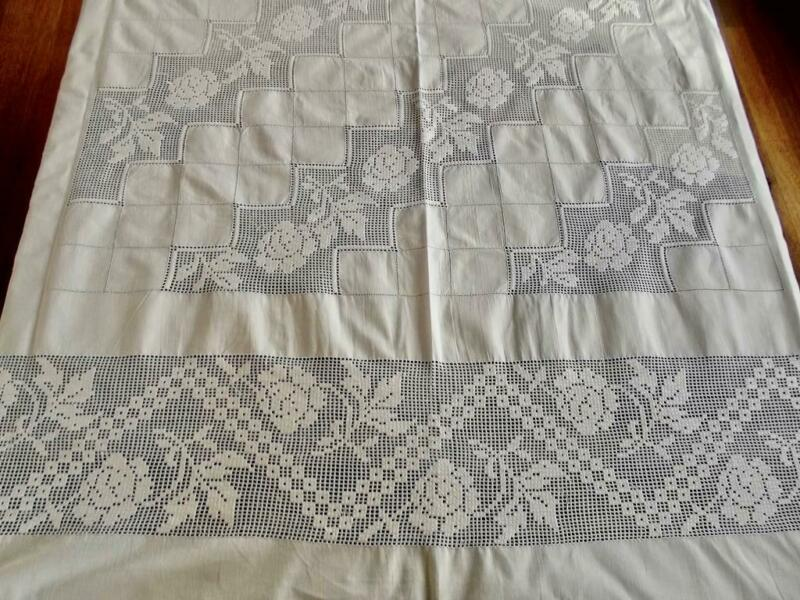 Antique Cotton Banquet Tablecloth Geometric Mosaic Lace Embroidered Roses 64x106