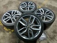 "GENUINE AUDI S3 18"" ALLOY WHEELS & TYRES 8V 5X112 A3 A4 TT SLINE VW GOLF PASSAT SCIROCCO CADDY"