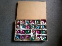 Box of 24 small vintage christmas baubles
