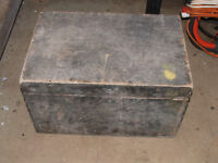 vintage wooden tool chest, box with various tools