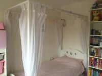 Girl's Four Poster single bed. White.