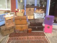 Splendid Selection Antique &Vintage Storage Boxes, Toy Boxes, Metal Trunks, Woven Trunks & Baskets