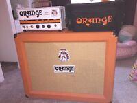 Orange tiny terror tube head and orange x2 12 inch speakers cab
